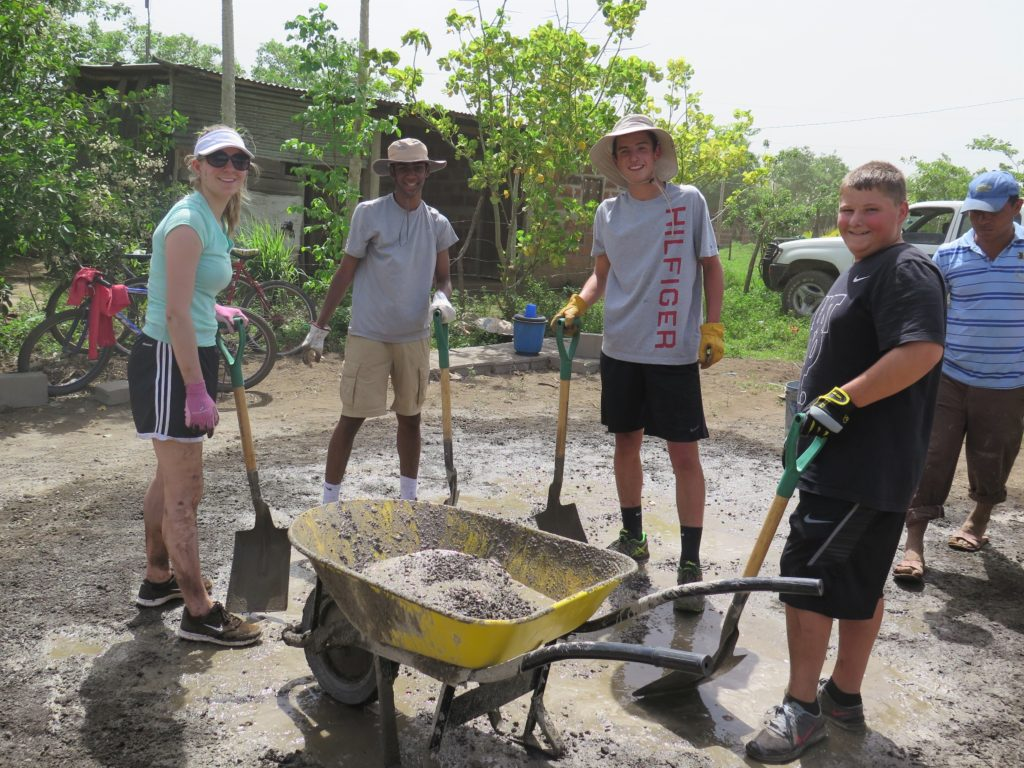 Voluntourism - making cement.
