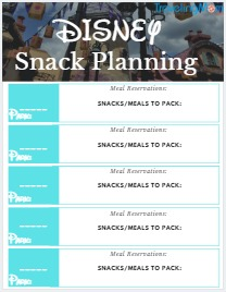 free disney meal planning printable