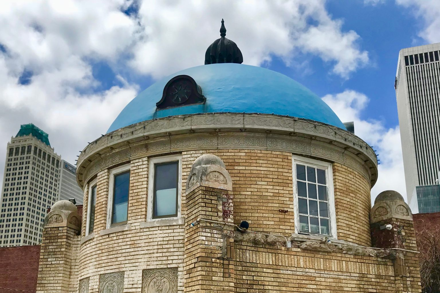 Blue Dome Building in a lively arts and entertainment district, a fun, free thing to do in Tulsa, Oklahoma.