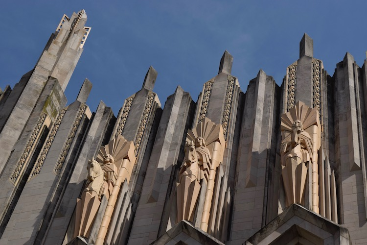 Tulsa Oklahoma's Boston Avenue Methodist Church facade, an example of the city's Art Deco architecture.