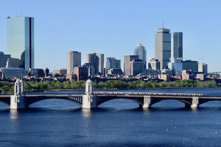 Boston skyline and the Longfellow Bridge as seen from a 10th floor room at the Royal Sonesta.