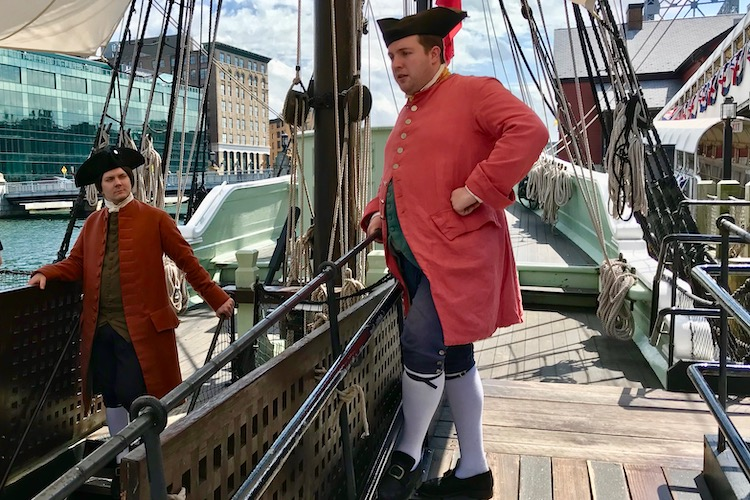 Colonial re-enactors onboard a ship in Boston, part of the fun at the Boston Tea Party Ships and Museum, a fun Boston museum for kids