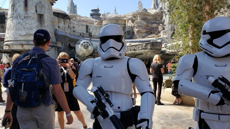 Stormtroopers can be found patrolling Star Wars Galaxy's Edge.
