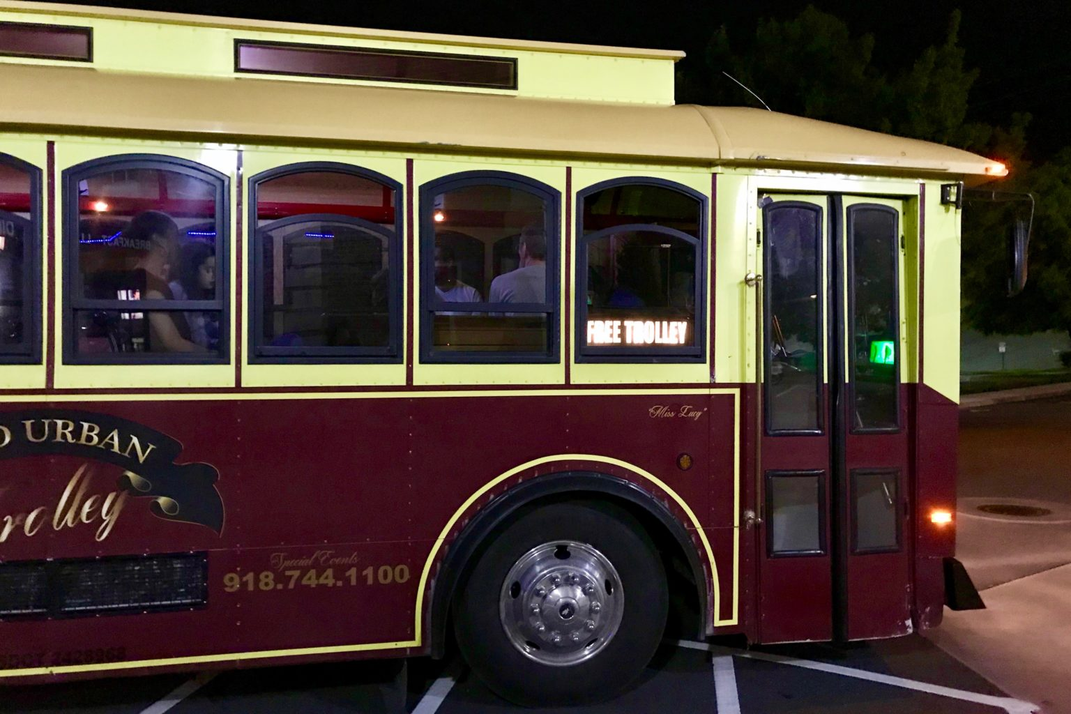 Trolley car in downtown Tulsa Oklahoma offers free rides