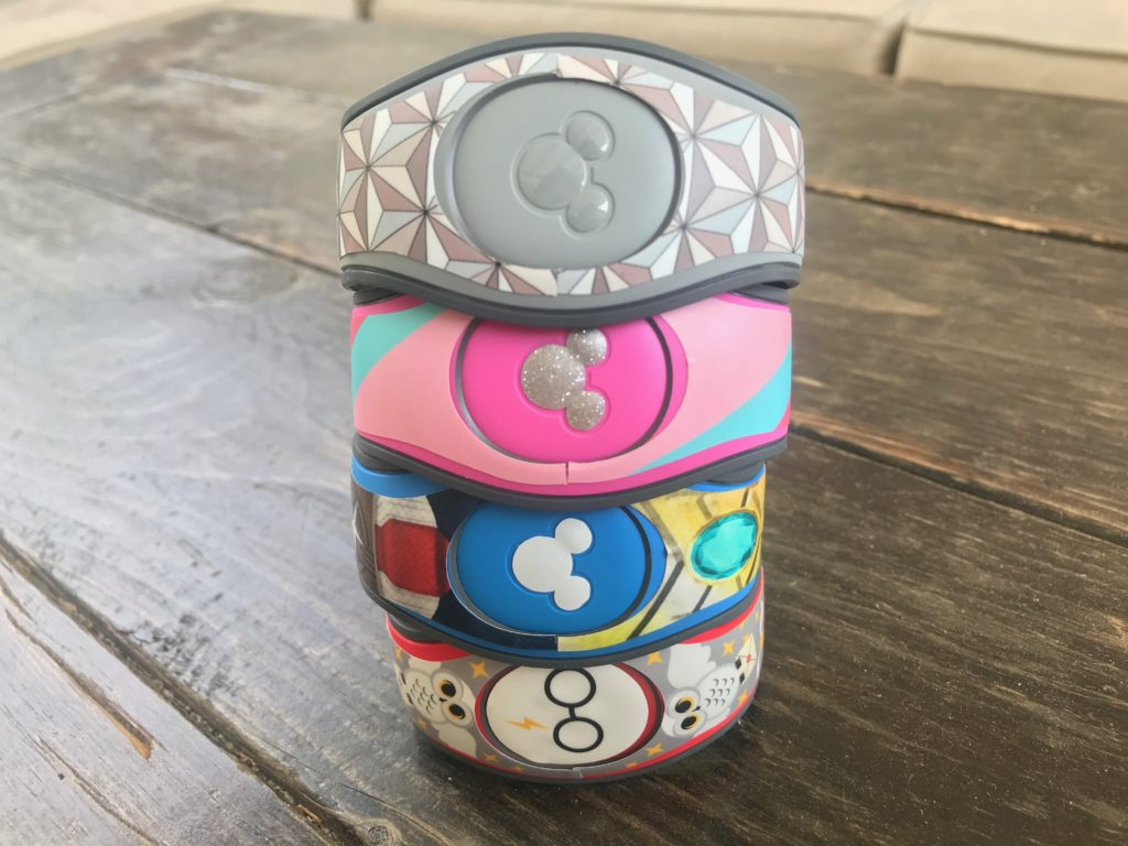 Customized MagicBands with decals from the shop My Fantasy Bands.