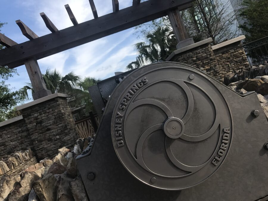 Disney Springs fountain on the West Side of the shopping district - TravelingMom