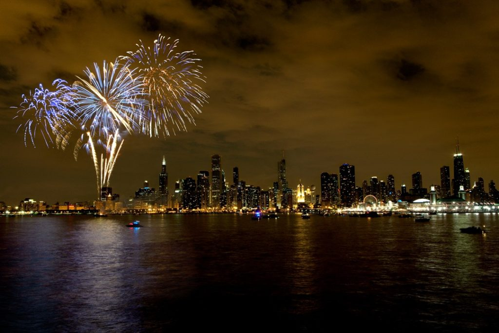 Fireworks shows at Navy Pier are held on Wednesday and Saturday nights in the summer. Photo courtesy of Choose Chicago.