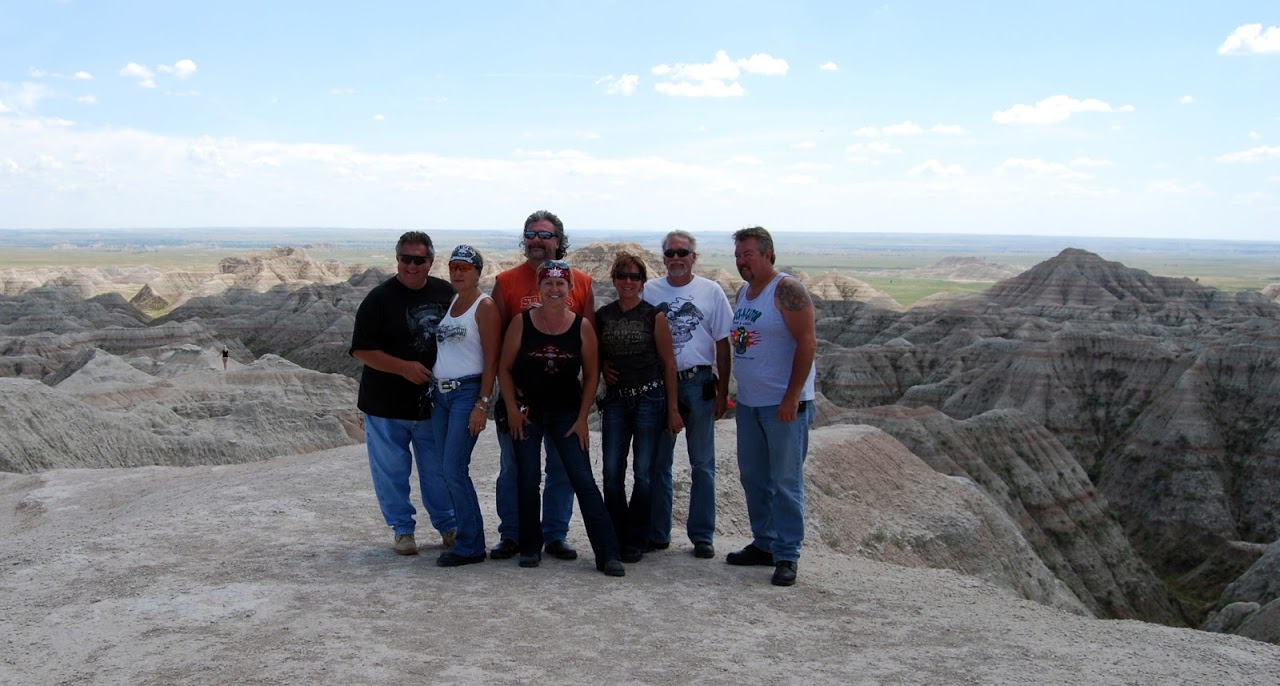 Motorcycle riders enjoying the scenic rides in the Badlands, part of the Black Hills region in South Dakota.