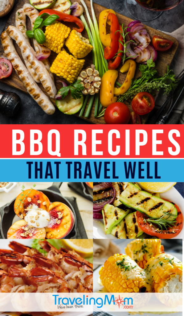 Come to the pot luck prepared with your barbecue best! These BBQ recipes travel well including appetizers, main dishes and desserts. #TMOM #Recipes #BBQ | TravelingMom