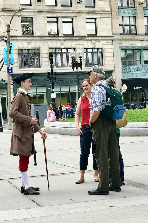Freedom Trail guide in Boston with tourists