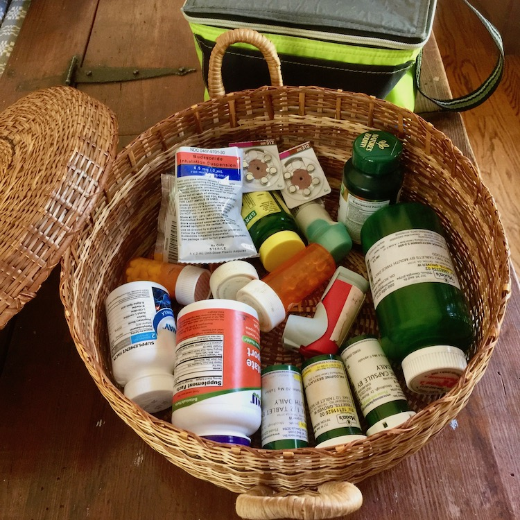 traveling-with-meds requires figuring out how to gather it up for the trip.