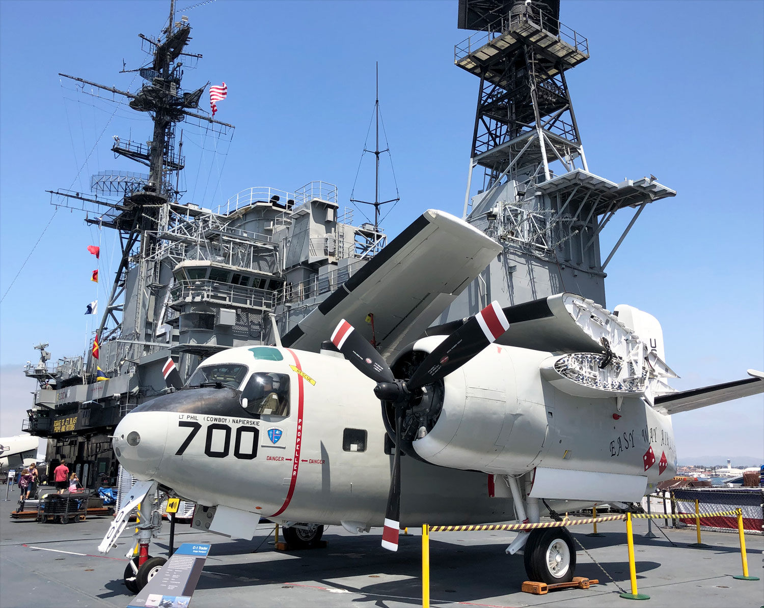 Planes parked on the deck of the USS Midway Museum in San Diego.