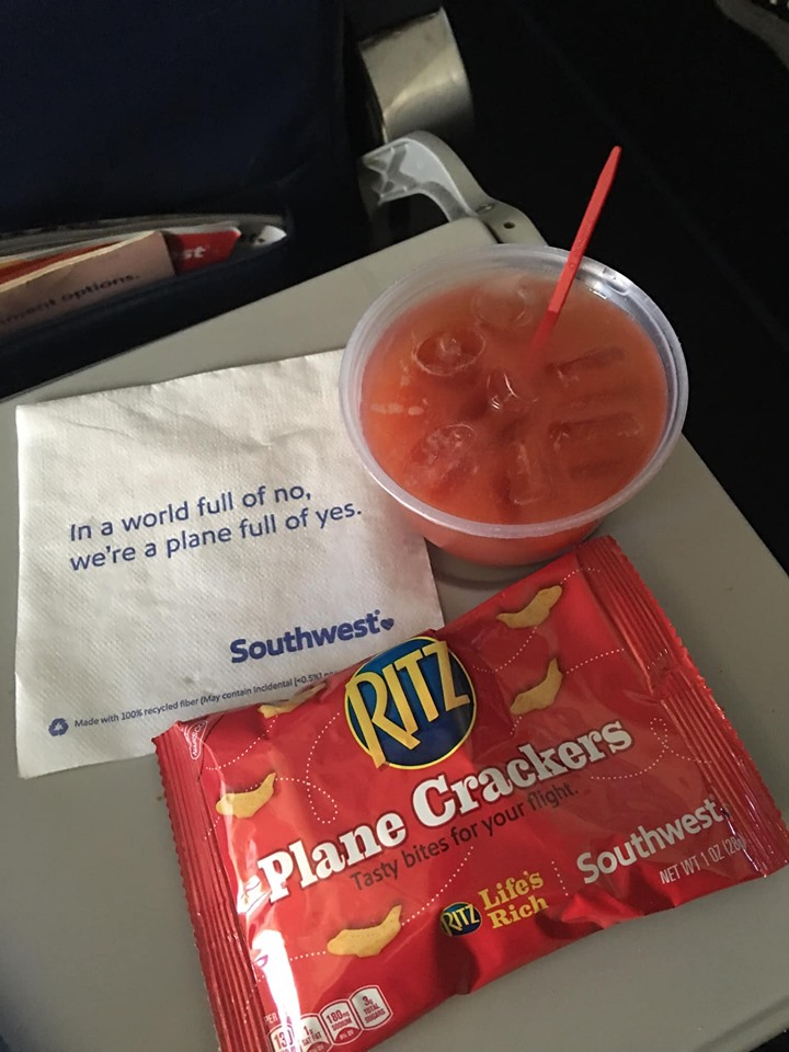 When you're flying Southwest Airlines, know your food options are going to be limited.