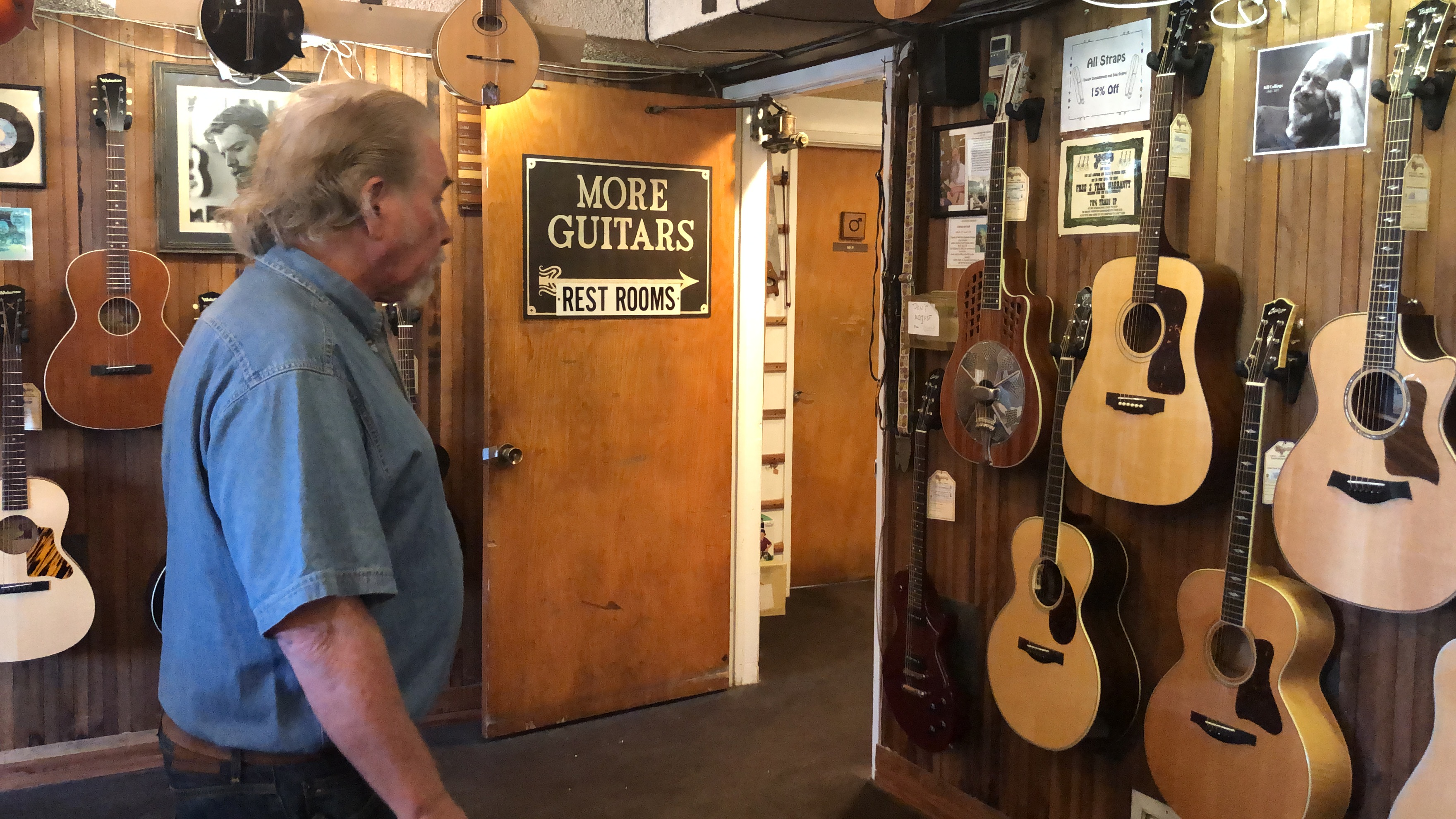 There guitars everywhere at McCabe's Guitar Shop in Manhattan Beach CA.
