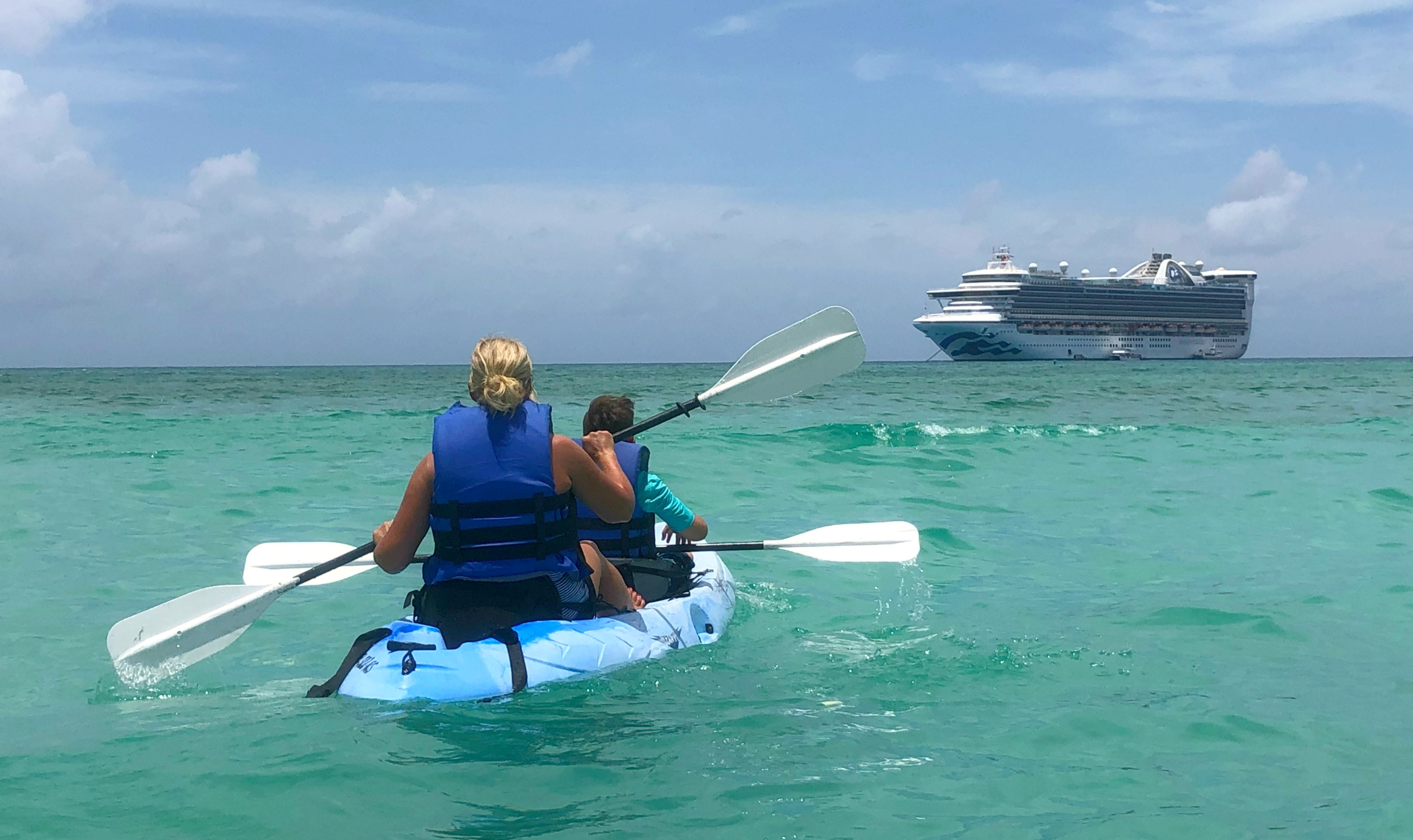 Kayaking at Princess Cays is a great way for a special experience together.