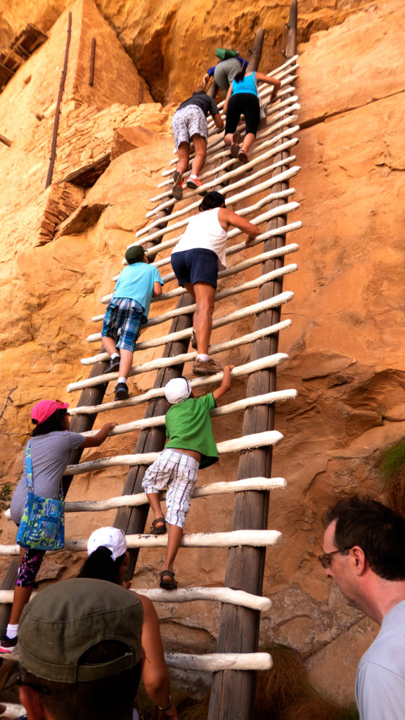 A modern ladder reproduced to appear like the Ancestral Pueblo ladders, must be climbed to almost three stories to get into Balcony Houe.