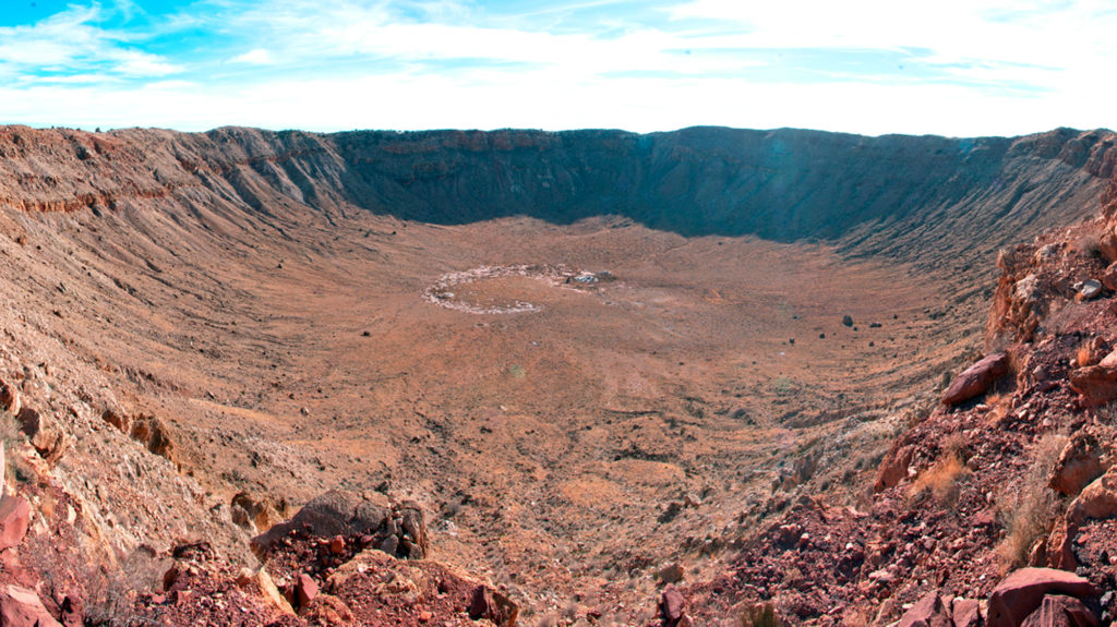 A picture from the north side of Meteor Crater shows the steep walls and the bottom of a crater created by a meteor about 160 feet (50 meters) in diameterhit the earth