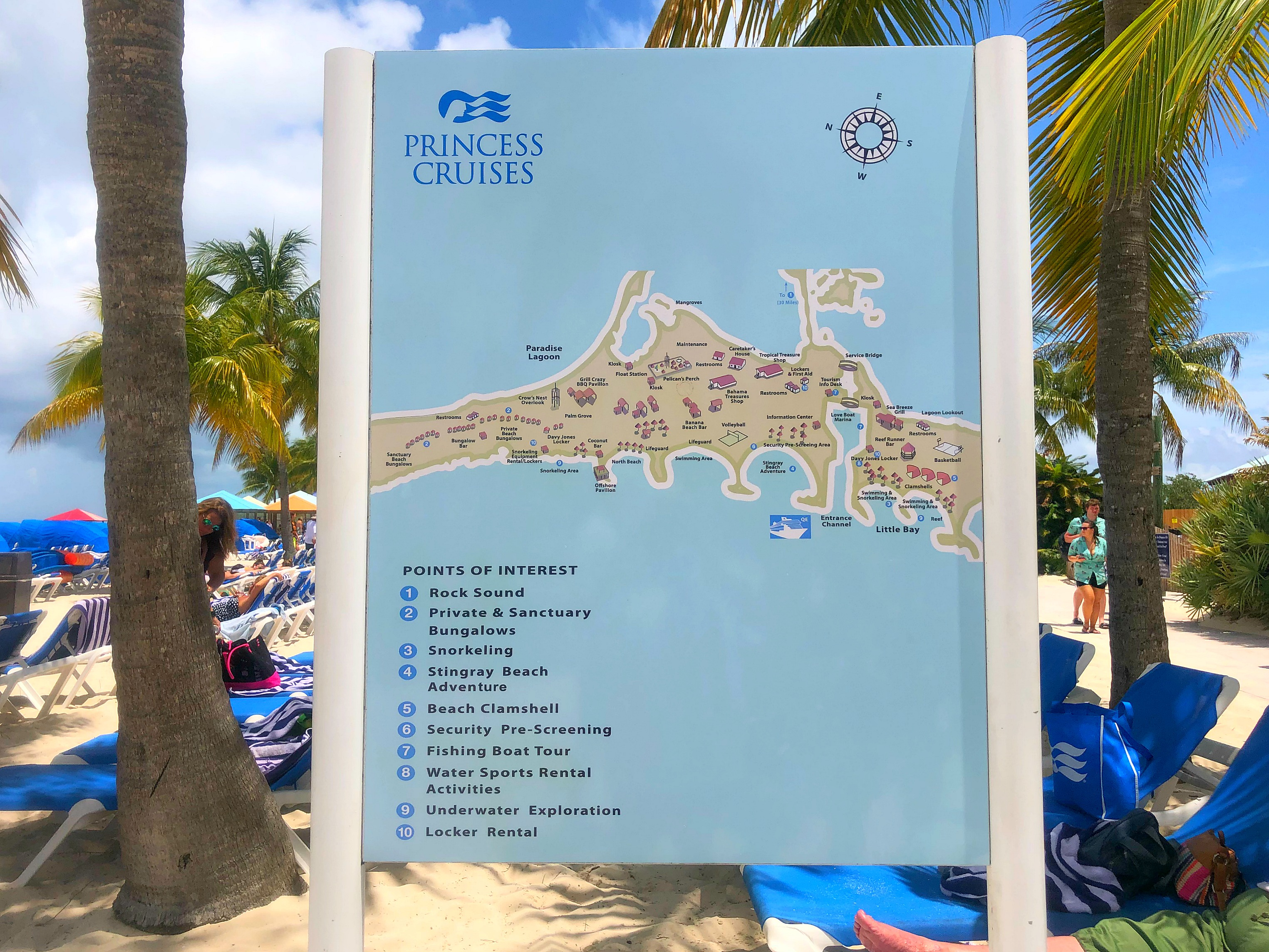 A map of all the areas to explore on Princess Cays.