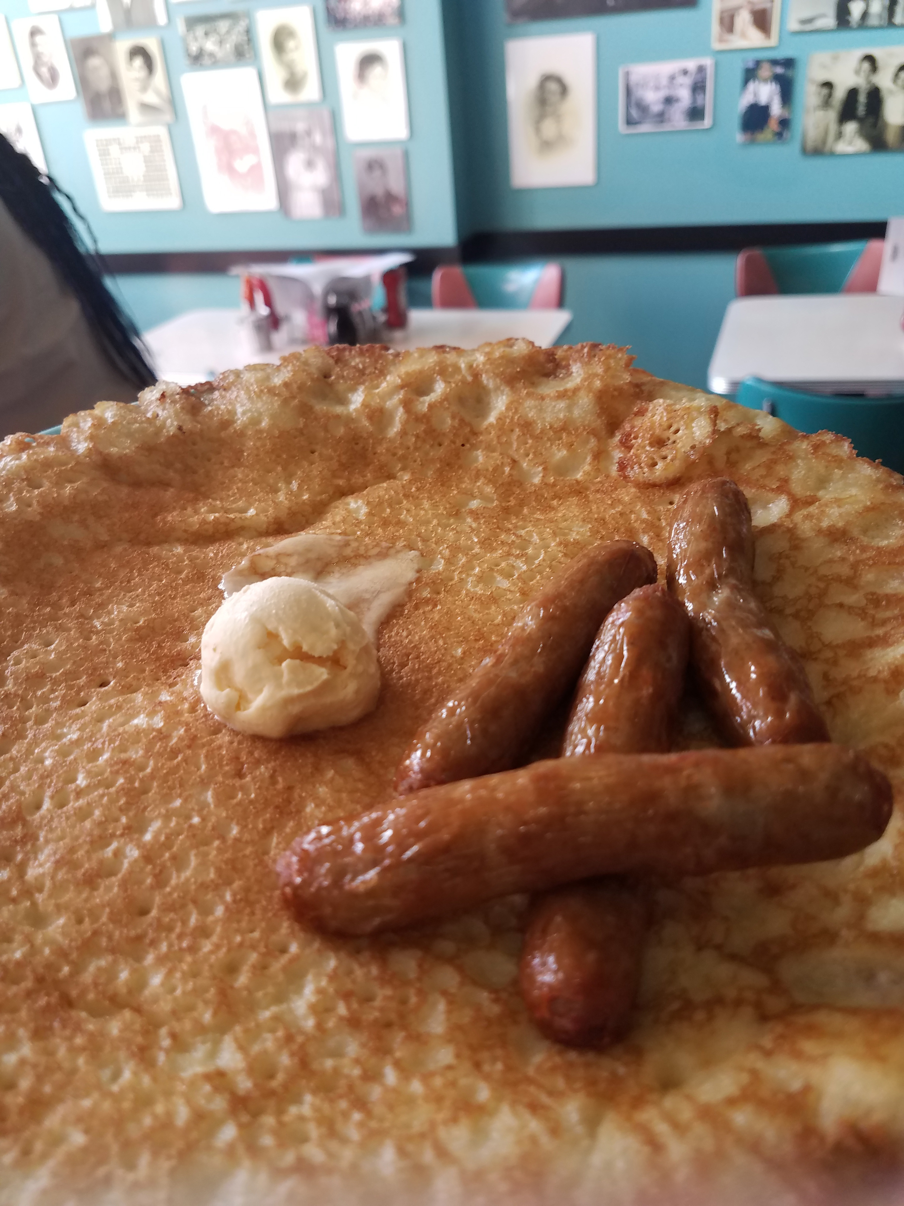 Hotcakes and sausage at Pamela's Diner in Pittsburgh Strip District