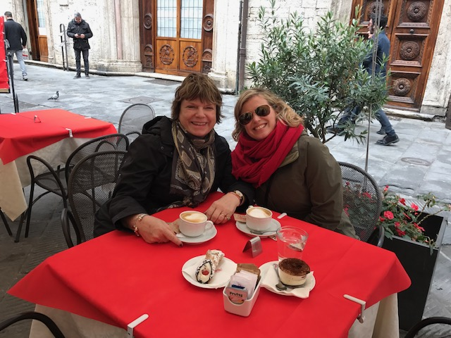 cappuccinos and pastries at Sandri's in Perugia--Umbria Italy.