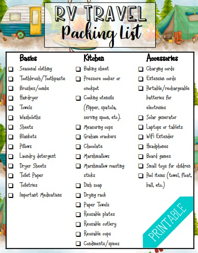 free rv packing list printable