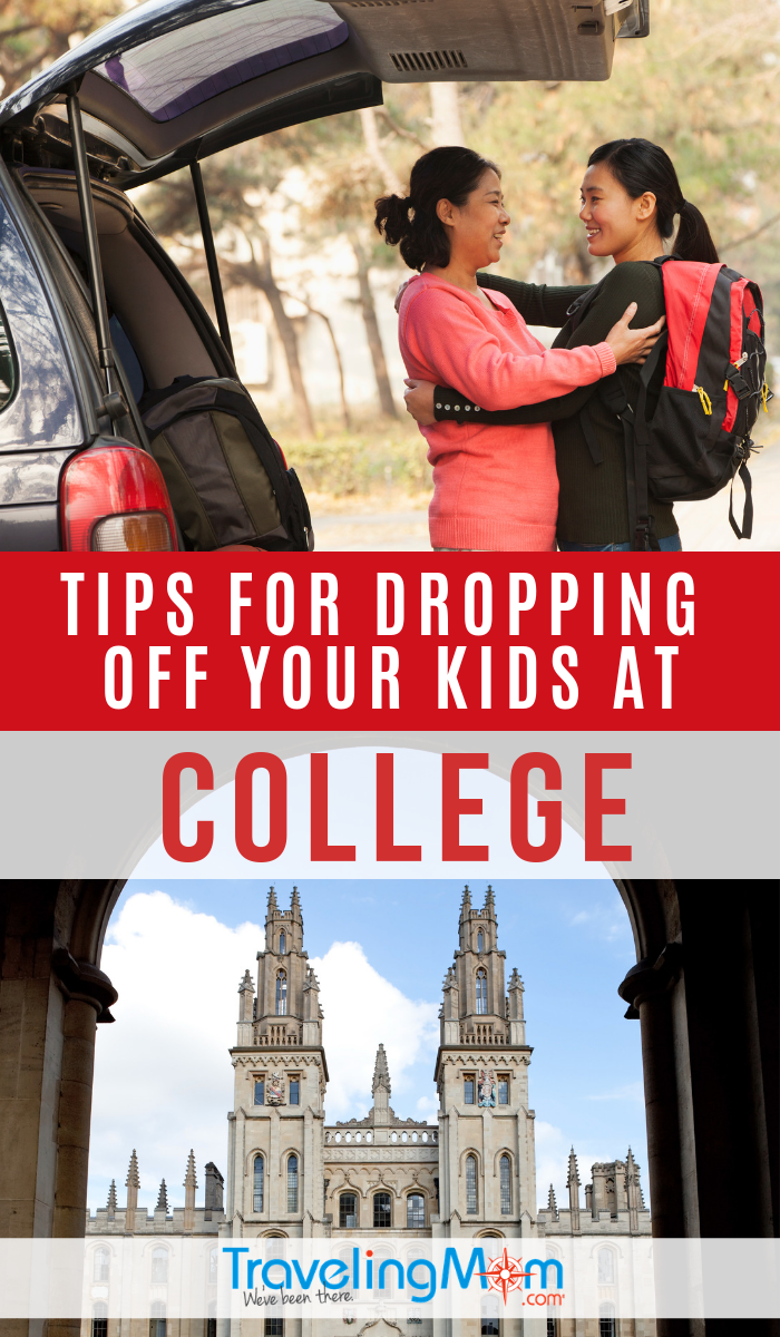 These are the pro-tips you'll need this fall when dropping off your Freshman for their first year of college. Find out how to plan, what to pack and even how to handle tears without making a scene! #TMOM #College | TravelingMom | Empty Nest