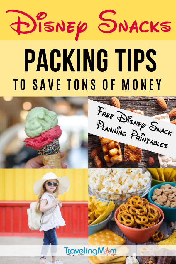 Save a ton of money with these Disney snacking tips and free planning printables. Get all the advice on what to bring into the Disney parks that will help you stay on budget. #Disney #Disneyland #DisneyWorld #DisneyTips | TravelingMom | Packing List