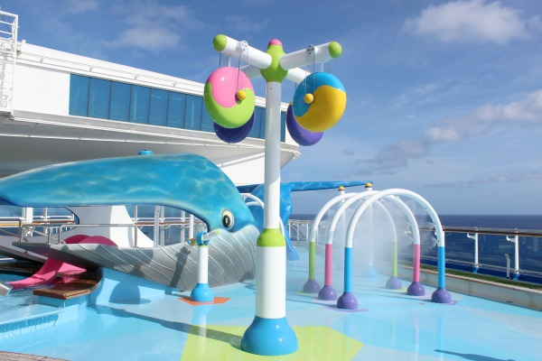 The Reef on the Caribbean Princess is a great place for children and families to play in water. Photo Credit: Kendra Pierson, LongWeekend TravelingMom