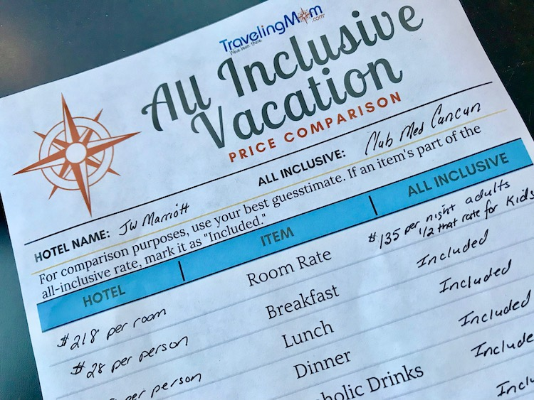 all inclusive vacation worksheet planner