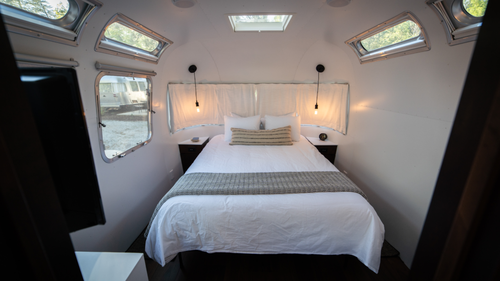 The bedroom in the Airstream camper.