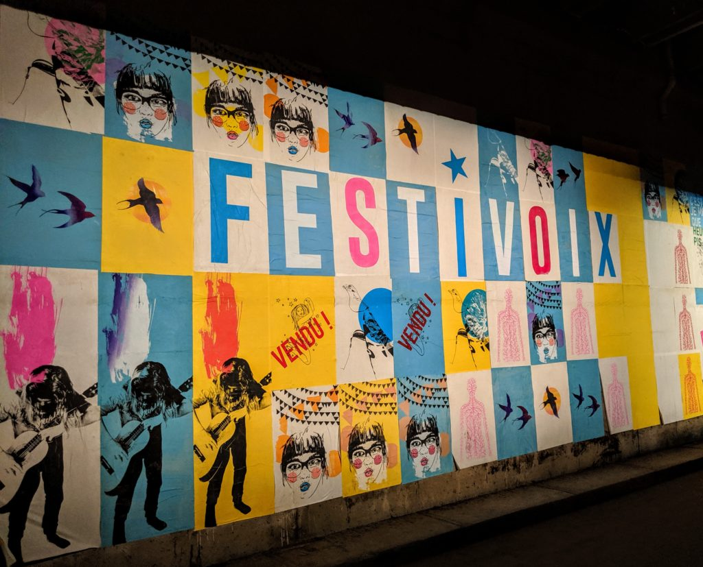 Festivoix sign in Trois-Rivieres Canada