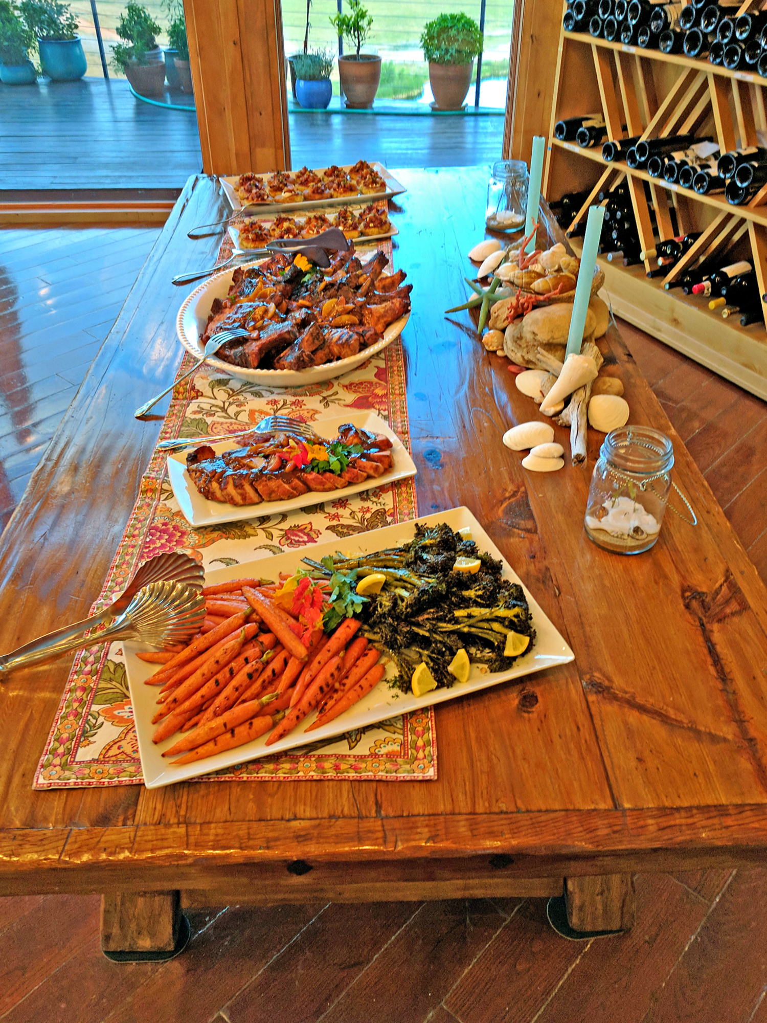 Dinner served family style at Red Reflet Ranch.