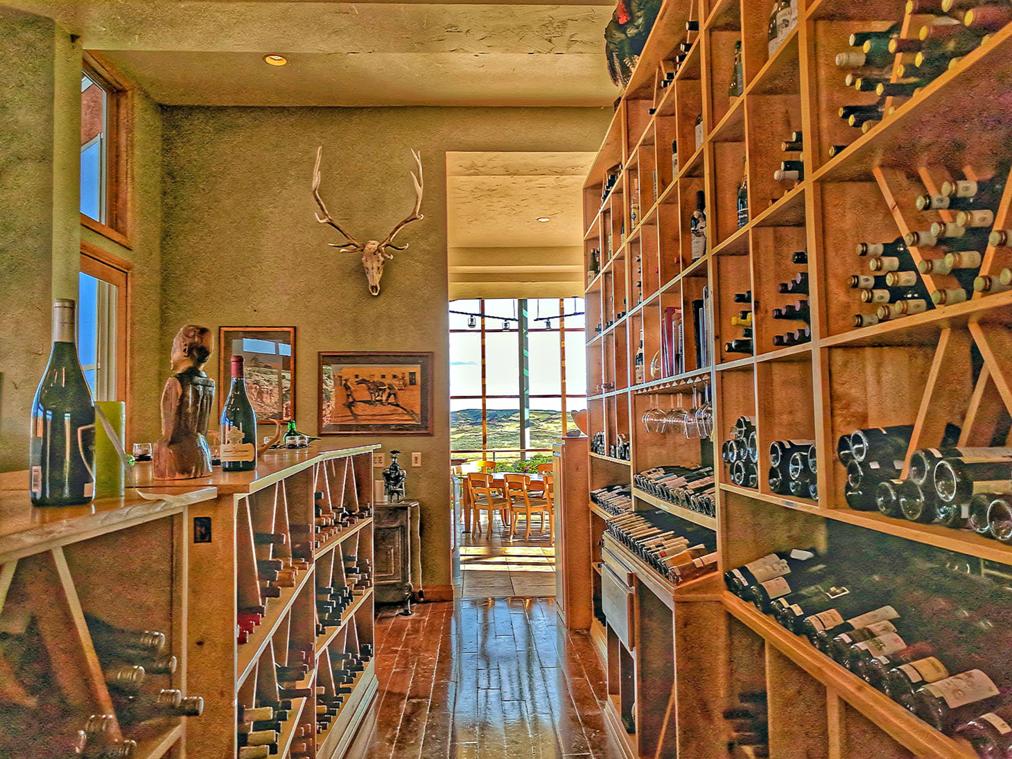 Wild West Vacation in style. Wine selection at Red Reflet Ranch in Wyoming.