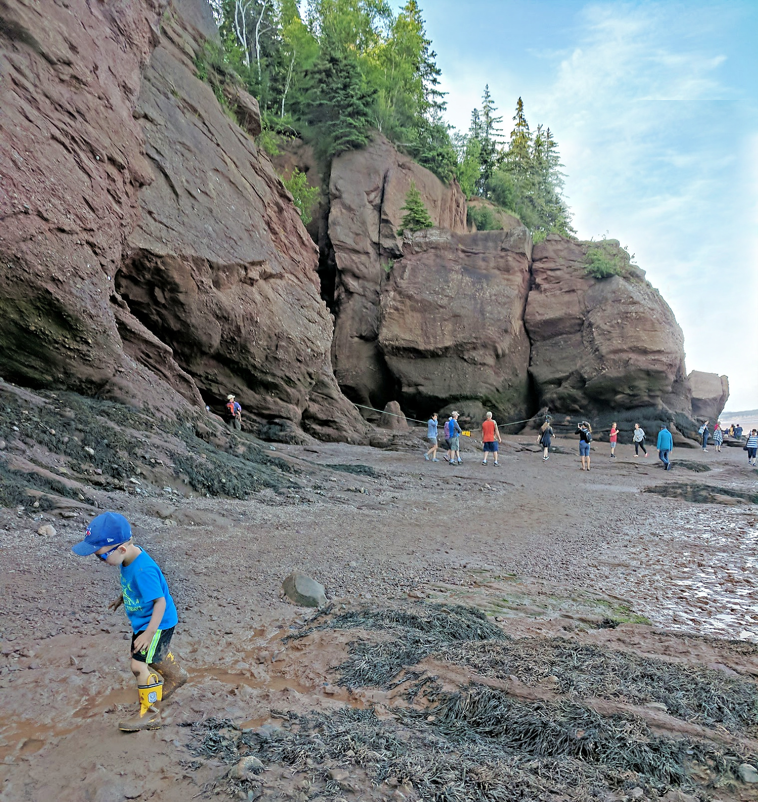 Little boy at the Hopewell Rocks in New Brunswick.