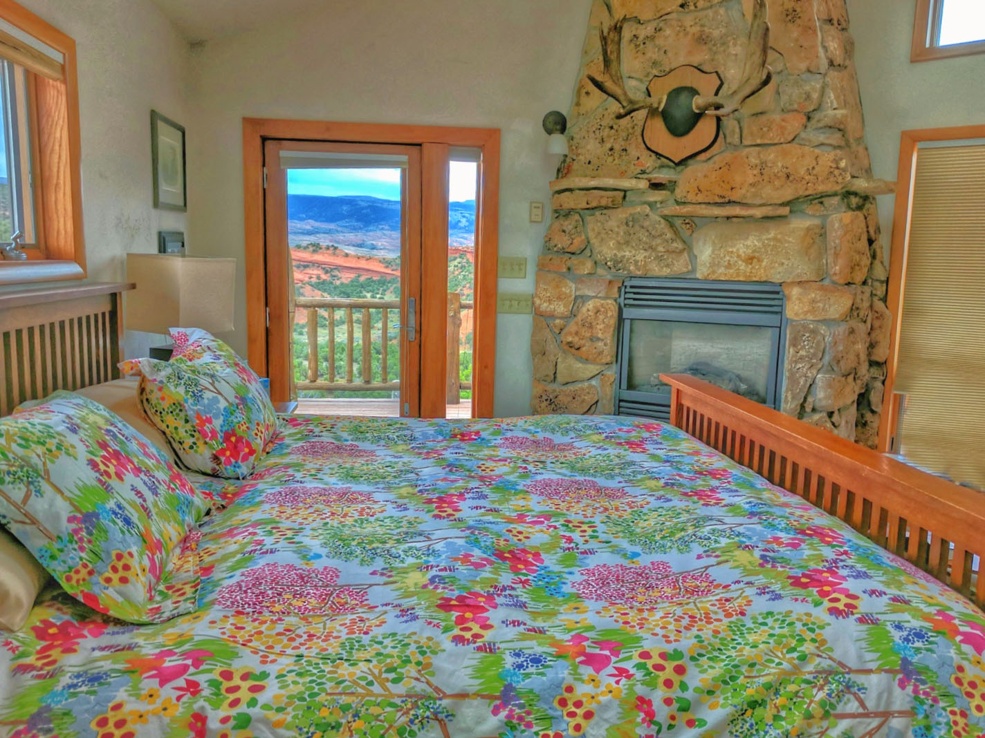 Comfort and style at the master bedroom in The Panorama Chalet at Red Reflet Ranch.