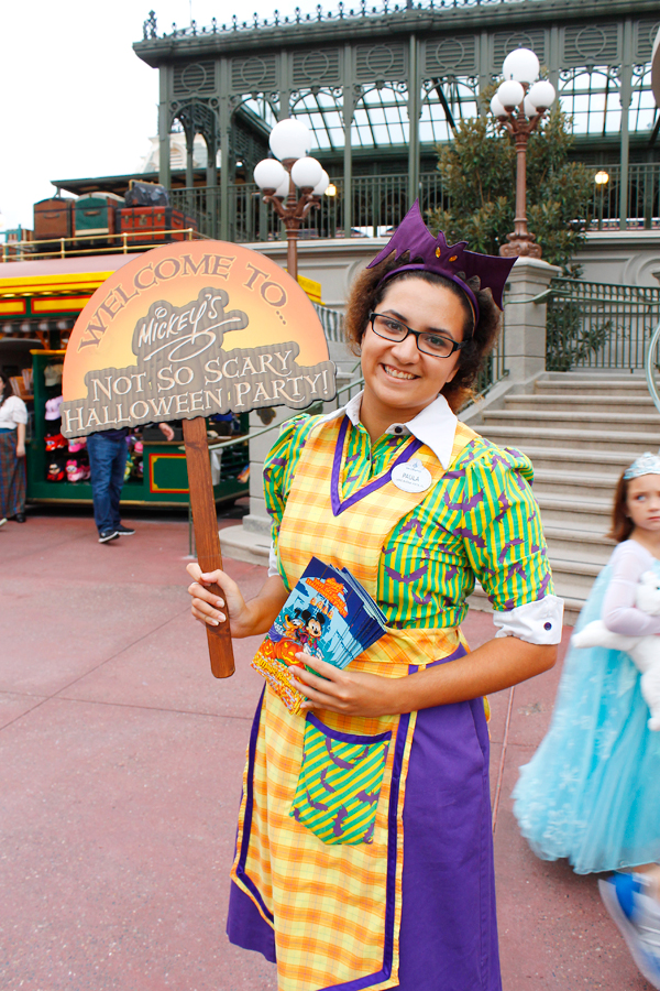 Welcoming Cast Members are dressed in their Halloween best for Mickey's Not So Scary Halloween party!