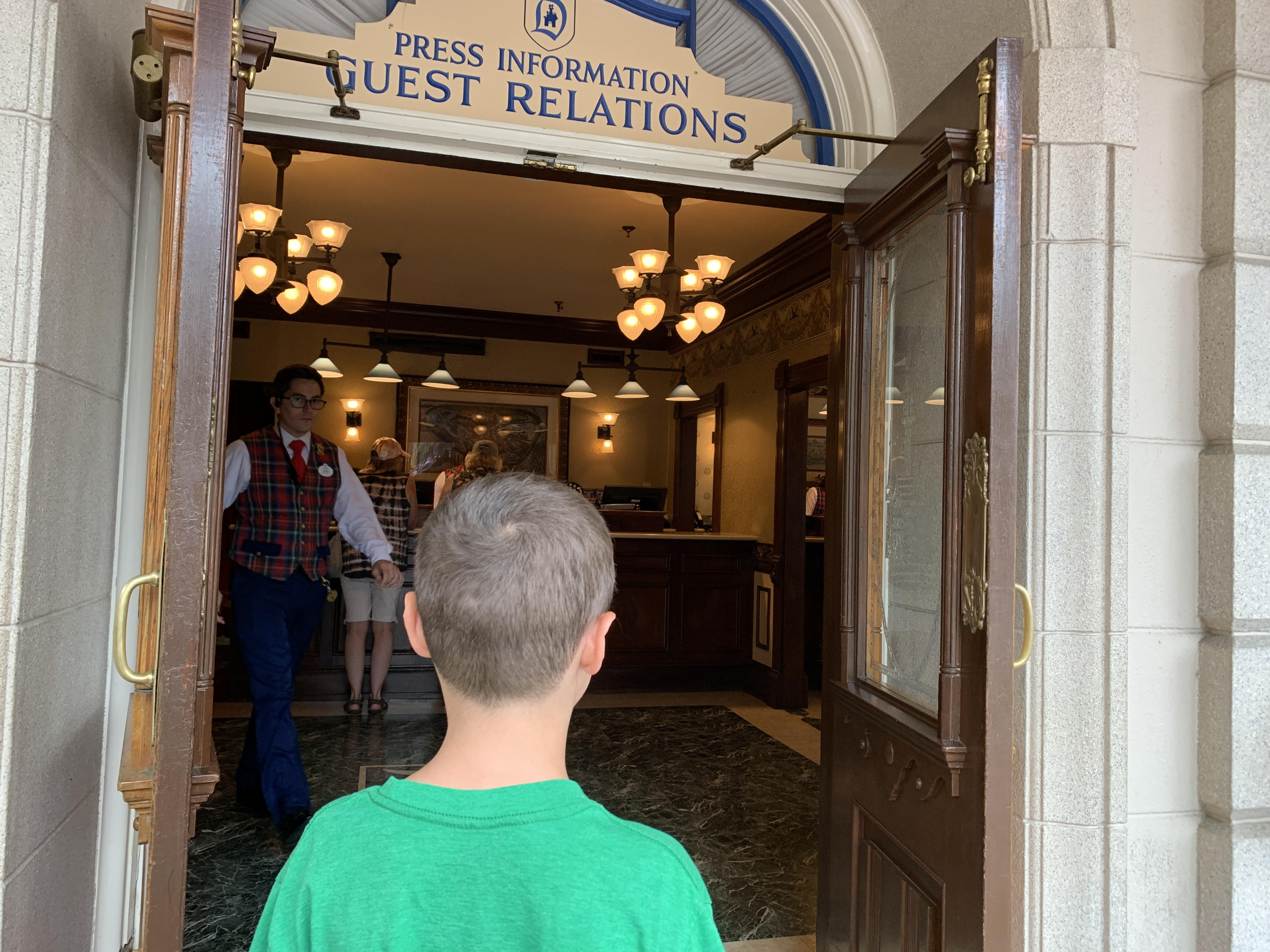 Waiting in line at City Hall for our DAS pass before visiting Galaxy's Edge.