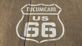 painted route 66 road label tucumcari new mexico