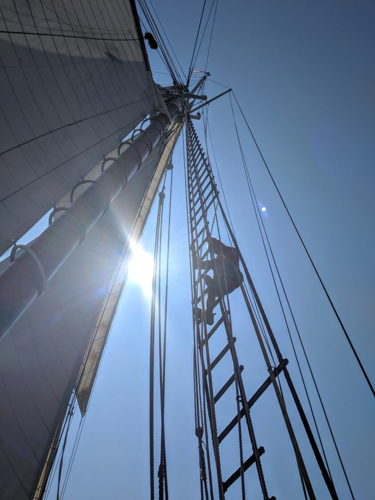 Crew climbs the rigging on a Maine Windjammer cruise.