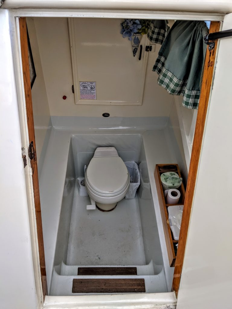 The tiny toilet on a Maine Windjammer cruise.