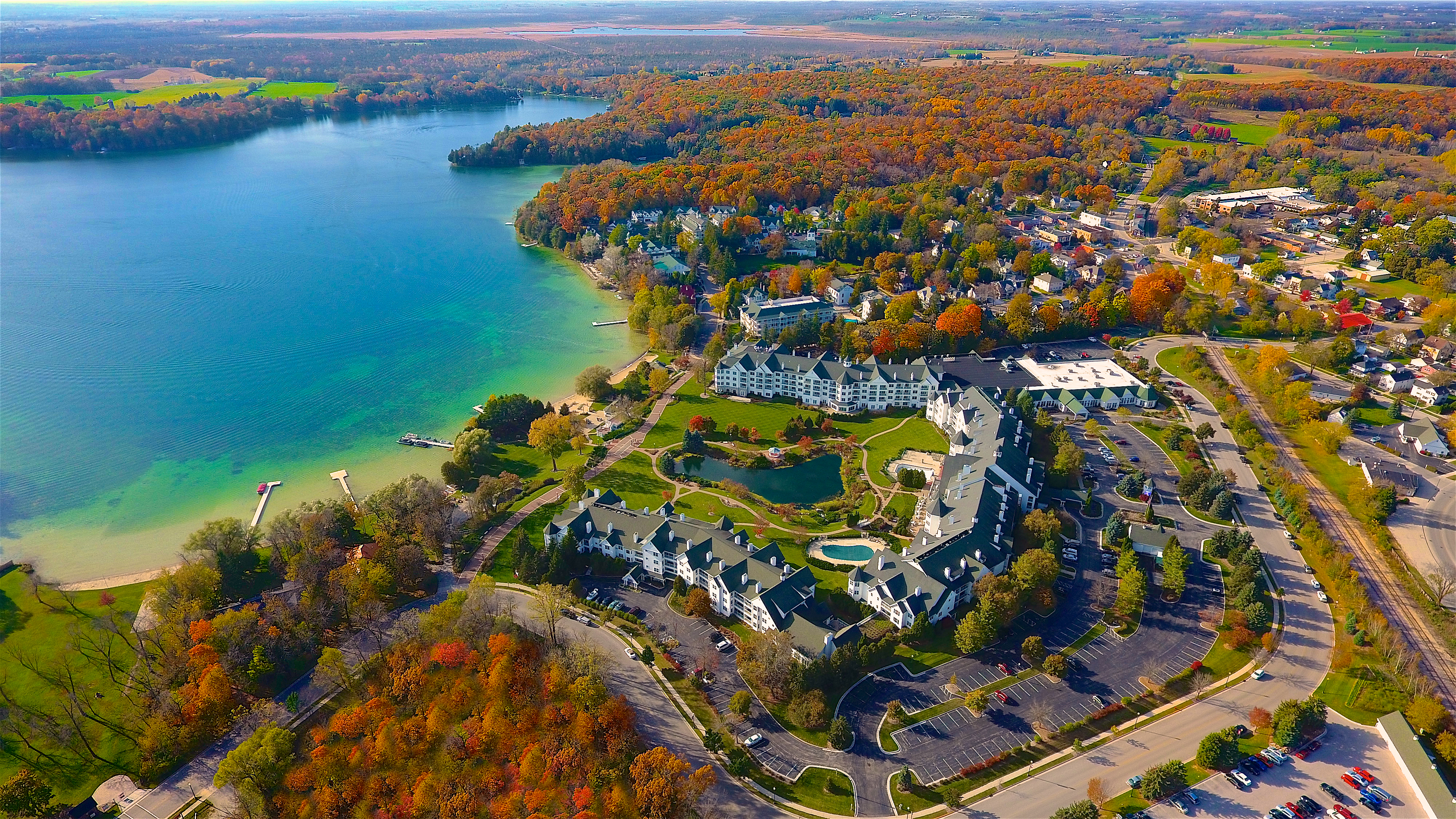 Aerial view of The Osthoff Resort in Wisconsin in the fall - TravelingMom