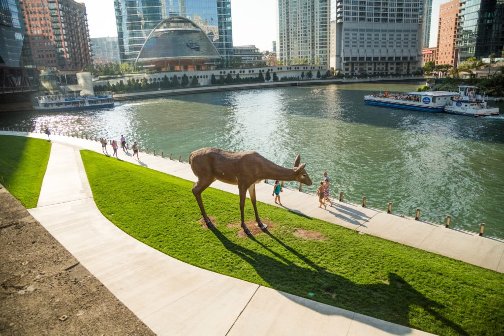Art is along the Chicago Riverwalk. Photo courtesy of Choose Chicago.