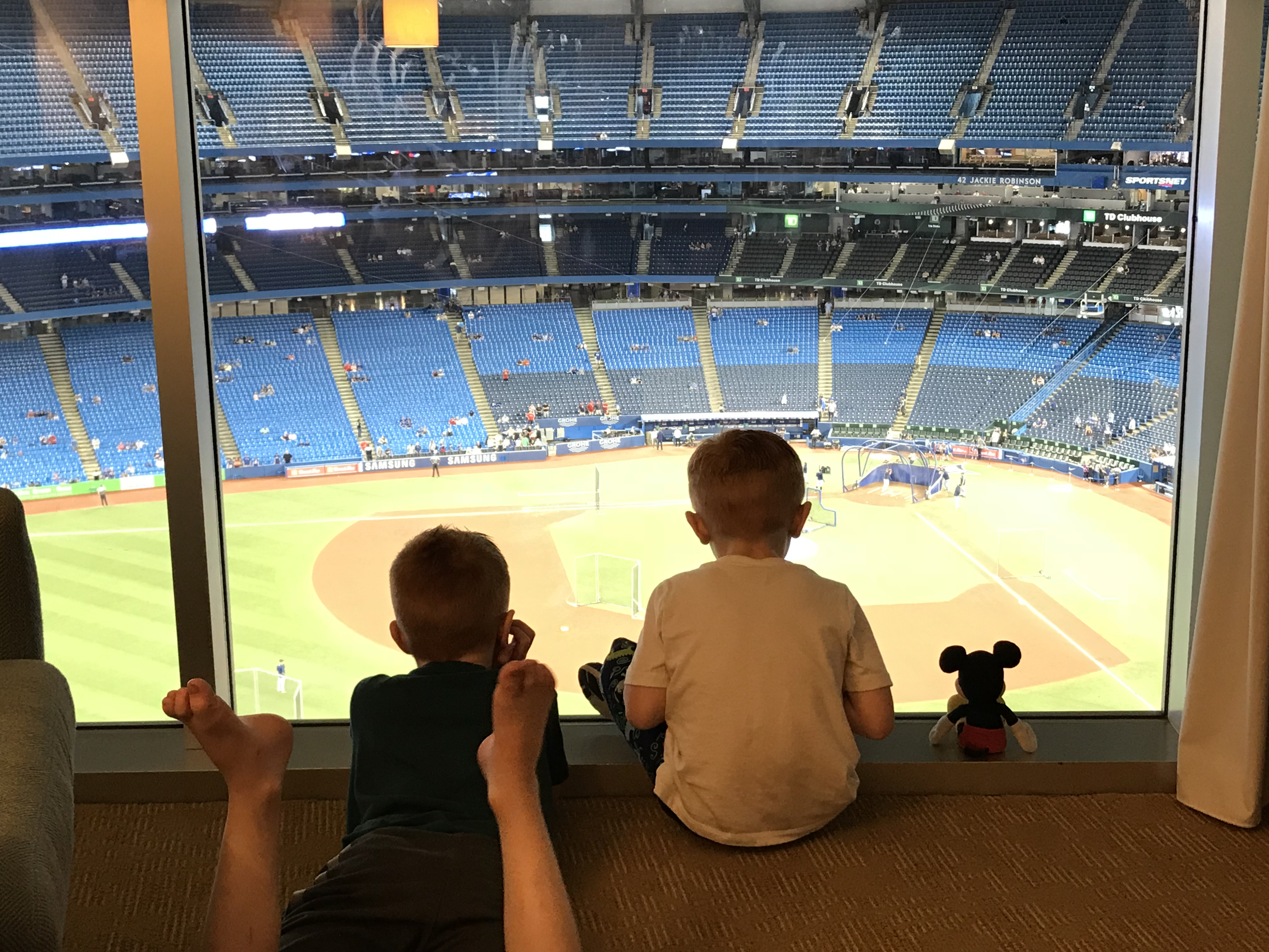 two boys watching baseball at the Rogers Centre in Toronto