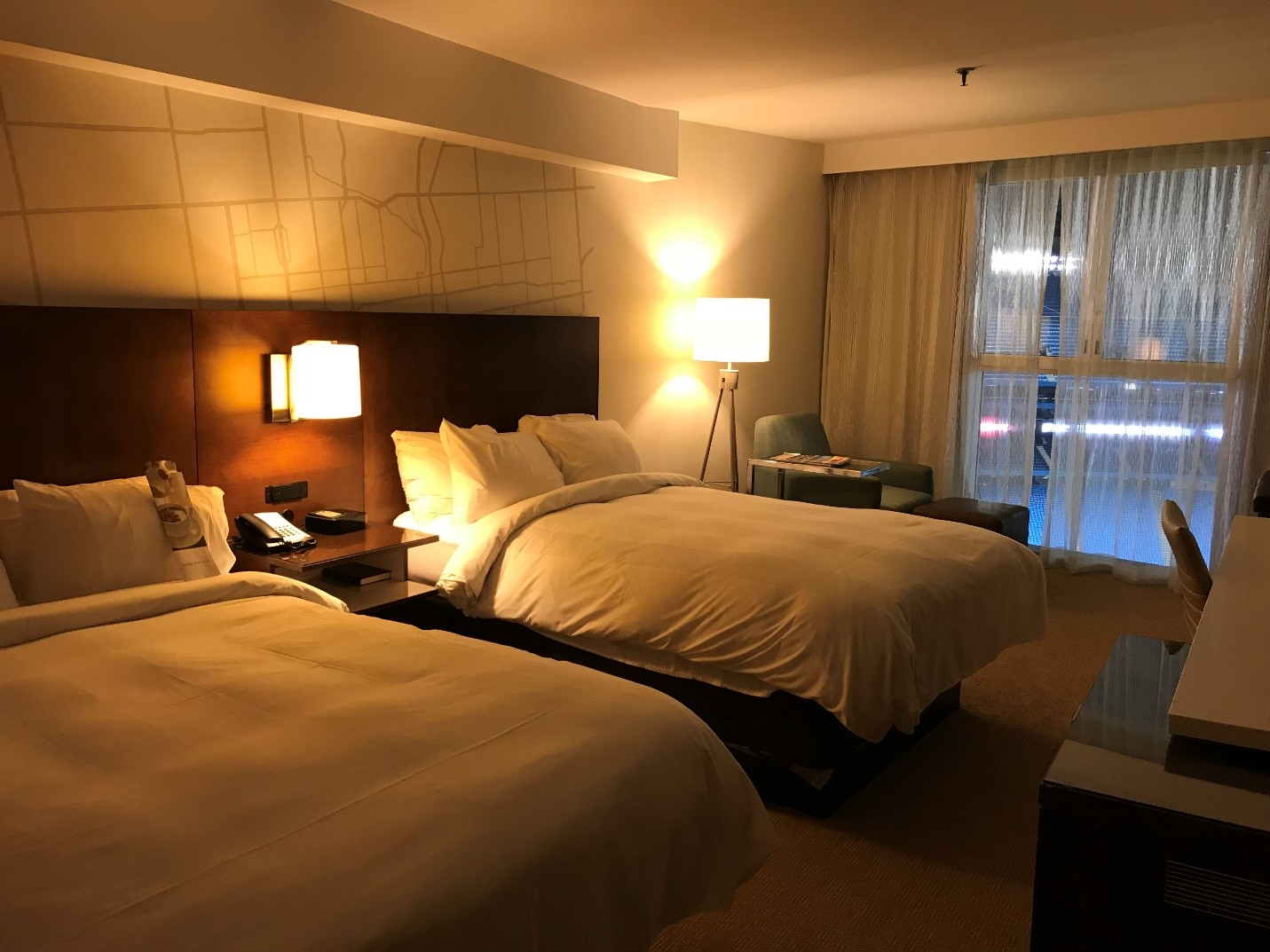 hotel room interior at the Rogers Centre in Toronto