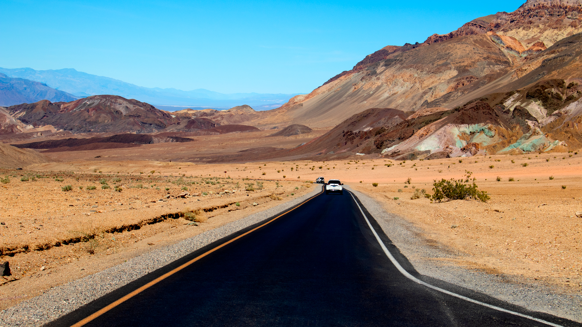 Photo of the road to Artist's Palette, a colorful rock formation in Death Valley National Park