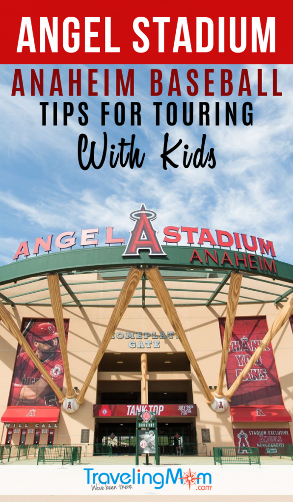 Celebrate all things baseball in Southern California with a kid-friendly tour of Angel Stadium. This Anaheim baseball team (near Los Angeles) offers on-field batting practice and how bats are made. #TMOM #Baseball #Anaheim #LosAngeles | TravelingMom | Sports Travel