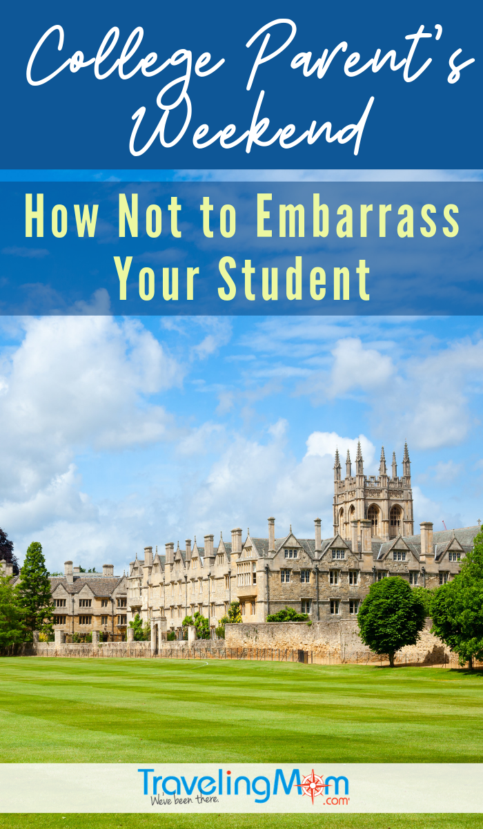 Visiting your college student on campus for the first time? These are the must-read tips for college parent's weekend so you'll know how NOT to embarrass your Freshman! #TMOM #College #FamilyWeekend | TravelingMom | University