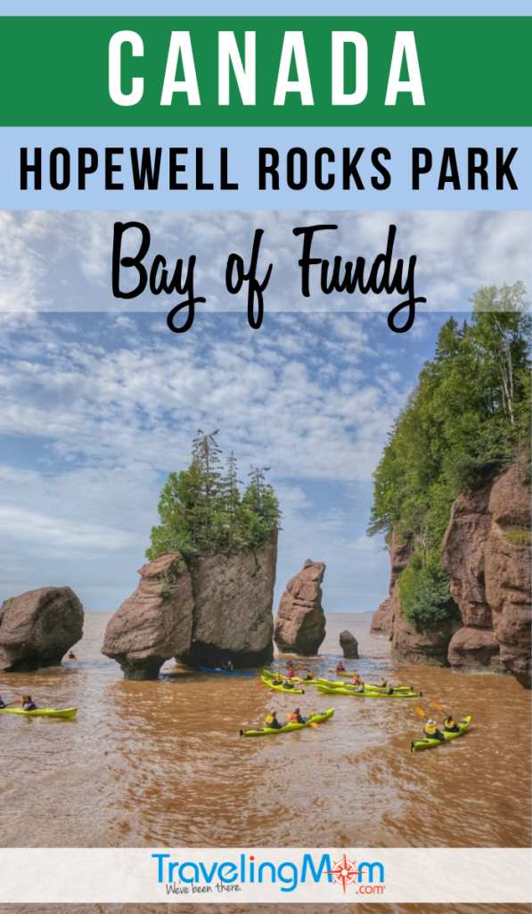 Canada's Hopewell Rocks Park in the Bay of Fundy is a muddy must-see! Find out the best tips on exploring the high tides here including what to wear, what to see and area restaurants and shops. #TMOM #Canada #HopewellRocks #BayofFundy | TravelingMom | Travel with Kids | Family Travel