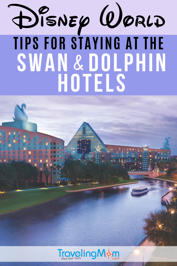 Located near Disney World's Magic Kingdom, the Swan and Dolphin hotels might be Disney's best kept resort secret! For those collecting Marriott points, these two family-friendly resort hotels might be a great choice but there are additional factors to consider. #TMOM #DisneyWorld #DisneyTips #DisneyTravel | TravelingMom | Disney World Resort Hotels