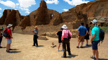 Park ranger talks about Pueblo Bonito at Chaco Culture National Historical Park
